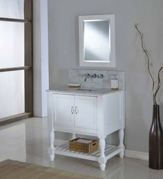 "Mission Turnleg Spa Premium  32"" White vanity with White Carrera Top"