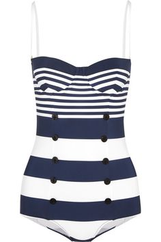 0949bc8cdb0b4  Ad  Dolce   Gabbana nautical striped navy and white swimsuit with buttons