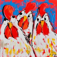 Dit is een: Acrylverf op doek, titel: 'Fluister kippen' kunstwerk vervaardigd door: Liz
