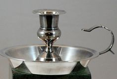 Colonial Country Primitive Style Silver Tone Nickel Candle Stick Candle Holder #Unbranded
