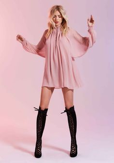 Model wears Winnie Bell Sleeve Dress and Jeffrey Campbell Witch Way Suede Boot for Valentines Day 2016 Lookbook