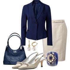 A fashion look from April 2013 featuring pocket jacket, belted pencil skirts and high heel slingback shoes. Browse and shop related looks.