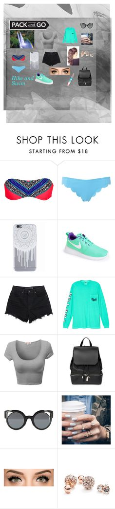 """""""Hike and Swim in Rio"""" by sdreskin ❤ liked on Polyvore featuring LavAzza, Rip Curl, Marysia Swim, NIKE, T By Alexander Wang, Victoria's Secret, COSTUME NATIONAL, Fendi, Floss Gloss and GUESS"""