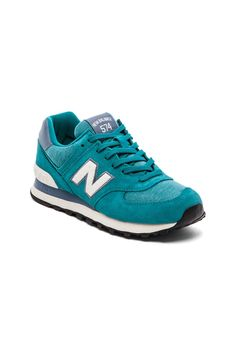 New Balance 574 Pennant Collection Sneaker in Teal & White | REVOLVE