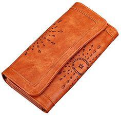 Scien Women's Leather Wallet Purse Credit Card Clutch Holder Long Wallets, Brown