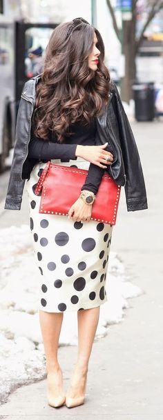 Dotted Pencil Skirt | STYLE | FASHION | M E G H A N ♠ M A C K E N Z I E