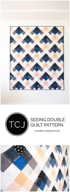 Seeing Double Quilt Pattern. A fast beginner friendly modern quilt.