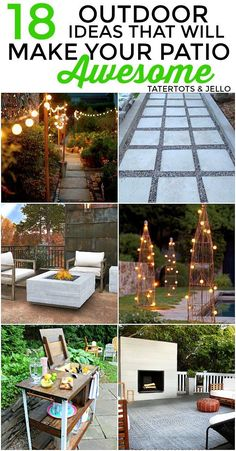 18 Outdoor Ideas that will make Your Patio Awesome this summer! 18 Ideas that will make Your Patio Awesome this Summer. Lots of DIY and beautiful patio and outdoor ideas for your home and family!