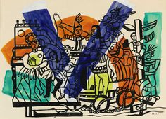 Fernand Léger (1881 - 1955), The Big Parade (Study), 1953, Gouache, ink wash and watercolour on paper