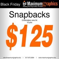 Black Friday Sale on Snapbacks/Caps : 12 pcs embroidered $125