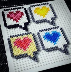 Heart Speech Bubbles hama perler beads by Love Cupcoonka -  www.facebook.com/hamabeadshobby