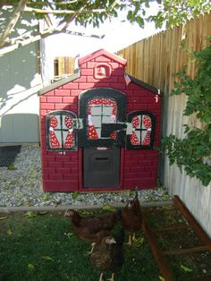 Plastic Playhouse repurposed into a chicken coop - how clever!!! And easy to hose down