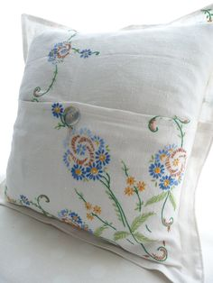 Pillow Cushion cover - embroidered vintage linen FREE SHIPPING. via Etsy.