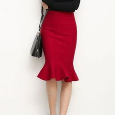 Image of Cupshe Turn Up the Heat Fishtail Skirt Knit Skirt, Midi Skirt, Red High Waisted Skirt, Fishtail Skirt, Fit And Flare Skirt, Swing Skirt, Red Skirts, Online Fashion Stores, Skirt Outfits