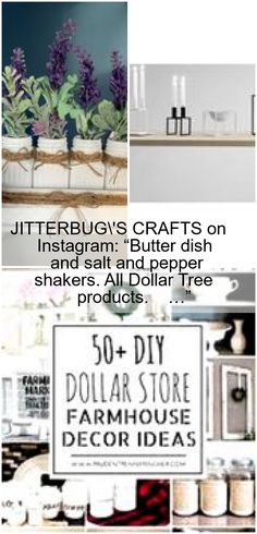 Dollar Tree Finds, Dollar Tree Crafts, Salt Shakers, Project Board, Butter Dish, Salt And Pepper, Dollar Stores, Farmhouse Decor, Stuffed Peppers