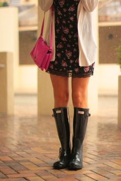 forever 21 cami dress with lace details, oversized cardigan, hot pink crew bag and black rain boots- hunter boots, wellies.... monogrammed necklace and loose waves  {lace and florals}