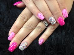 Found another great nail design, re pin and share for others ((TAB)) Pink gel polish with polka dots and Swarovski crystals over acrylic nails
