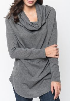 Grey Plain Irregular High Neck Casual Cotton Blend T-Shirt