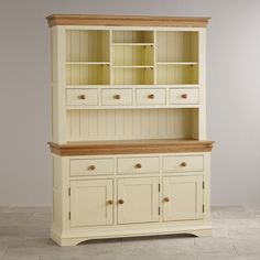 Country Cottage Natural Oak and Painted Large Hutch