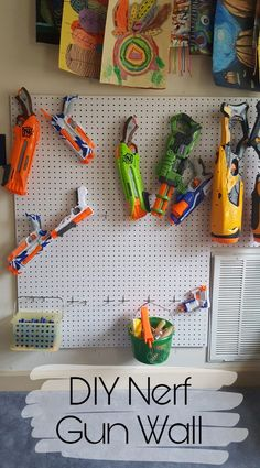 Creative Halloween Costumes - The Best Way To Be Artistic Over A Budget Diy Nerf Gun Pegboard Wall For Nerf Gun Storage And Organization . Painted Pegboard, Pegboard Garage, Kitchen Pegboard, Garage Organization, Wall Storage, Diy Storage, Storage Ideas, Nerf Gun Accessories, Nerf Gun Storage