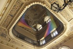 http://frickyeahjamesmoriarty.tumblr.com/post/86969401205/contemporary-artist-gabriel-dawe-turned-historic Contemporary artist Gabriel Dawe turned historic Villa Olmo in Como, Italy into a beautiful rainbow art installation entitled Plexus no. 19, which stretched from balcony to balcony, filling the room with vibrant color.