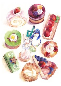 Tea Time by 米嘉鯨 Dessert Illustration, Watercolor Illustration, I Love Food, Cute Food, Food Pictures, Kitchen Pictures, Dessert Drinks, Dessert Recipes, Watercolor Food