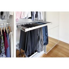 Flatpax Wardrobe Sliding Trouser Rack 900mm Silver