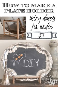 How to make a plate holder using dowels for under $3.  In fact you can make 2!  Country Design Style