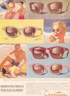 1952 Cosmetan sunglasses advertisement.