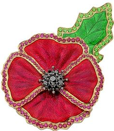 For the UK Remembrance Day, aka Poppy Day, British luxury jeweler Garrard created a dazzling poppy brooch to be auctioned for charity at the Royal British Royal Jewels, Crown Jewels, Pictures Of Poppy Flowers, Royal British Legion, Royal Legion, Antique Jewelry, Vintage Jewelry, Poppy Brooches, Remembrance Sunday