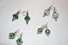 green Pandora style bead earrings