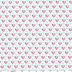 Aqua Red Sweet Hearts Valentine Fabric on White by AllegroFabrics, $10.00
