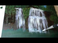 How To Paint Waterfall With Acrylic on Canvas Complete ...