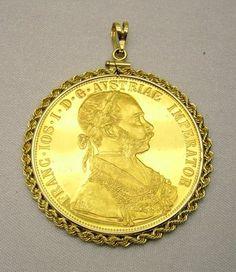 Austria Gold Coin Pendant 4 Ducat 1915 0.986 Fine with 14K Gold Rope Bezel 17.3g