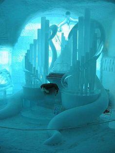 Ice organ inside Jukkasjärvi Ice Hotel, Sweden