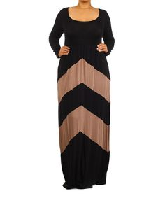Love this Black & Brown Chevron Maxi Dress - Plus by J-Mode USA Los Angeles on #zulily! #zulilyfinds