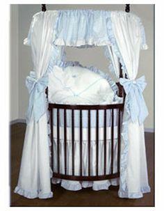 Baby Doll Bedding Darling Pique Round Crib Bedding Set - Blue