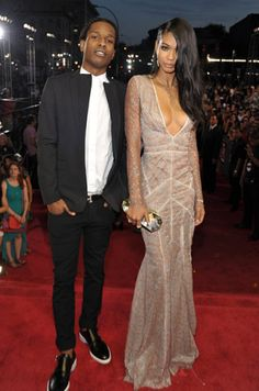 ASAP Rocky and Chanel Iman photographed on the red carpet at the 2013 MTV Video Music Awards in Brooklyn, New York. (MTV)