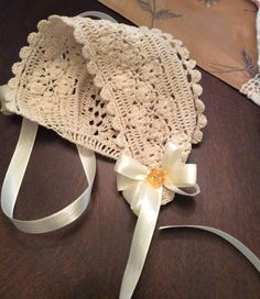 Crochet Baby bonnet pattern christening bonnet by PatternsbyHalina                                                                                                                                                     More