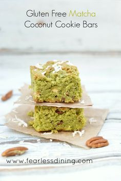 Gluten Free Matcha Green Tea Coconut Cookie Bars (Substitute eggs and butter to make it vegan)