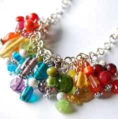 Beautiful beaded rainbow necklace!  $33 on etsy