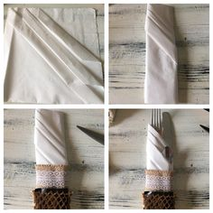 Napkinfolding with countrytheme. #napkin #folding #wedding #country