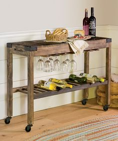 Another great find on #zulily! Montego Rolling Wood Console #zulilyfinds
