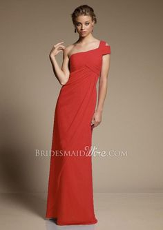 pretty #chiffon red one shoulder floor length long fitted #bridesmaid #dress      $ 430.00 off $162.89