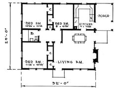 Small House Plans - 3 bedroom. Add a washer dryer into one of those closets between bedrooms and I'd be golden.