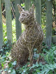 Willow Sculpture of a seated Cat
