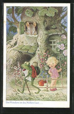 Künstler-AK Fritz Baumgarten: Vermenschlichter Frosch mit Wanderstock bei einem