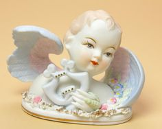 Lefton Angel with Harp Figurine 432  Ceramic by Vintage4Vintage, $25.00