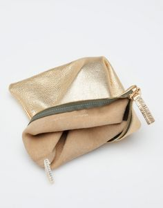 foldover gold clutch