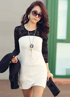 Two Tone Design Long Sleeve Work Dress Black and White